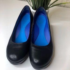 Crocs black leather wedge heel